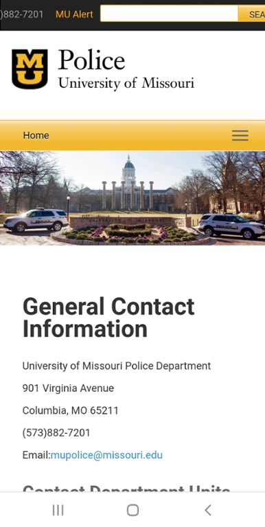 Mobile screen shot of Mizzou Police Department's Contact Information Page.