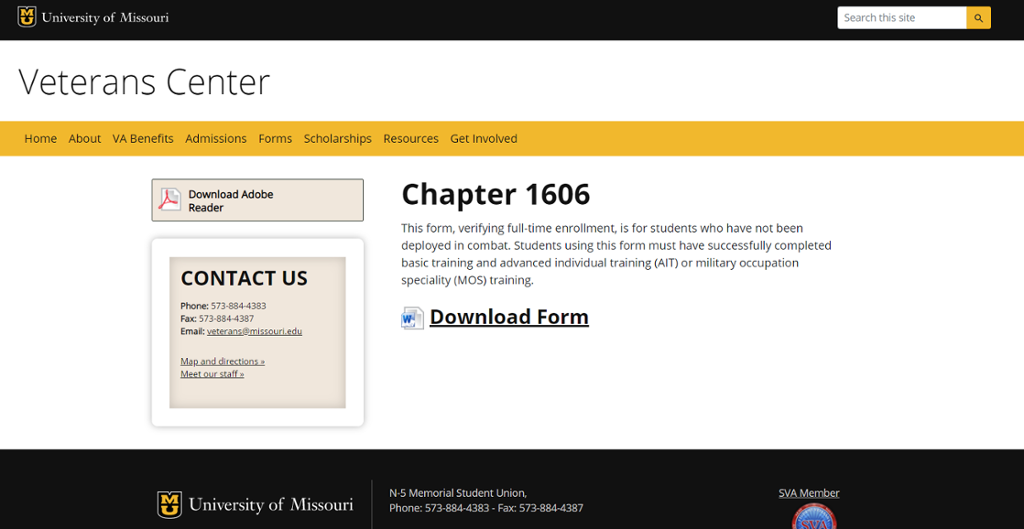 Screenshot of Mizzou site for Chapter 1606 VA Benefits.