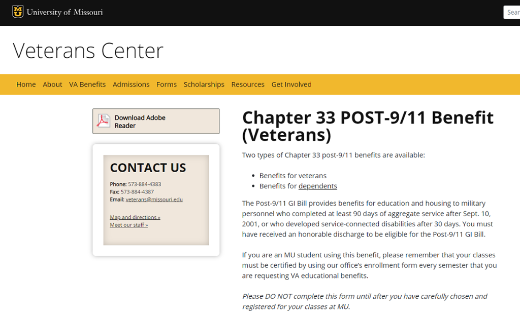 Screenshot of Mizzou site for Chapter 33 Post 9/11 VA Benefits.