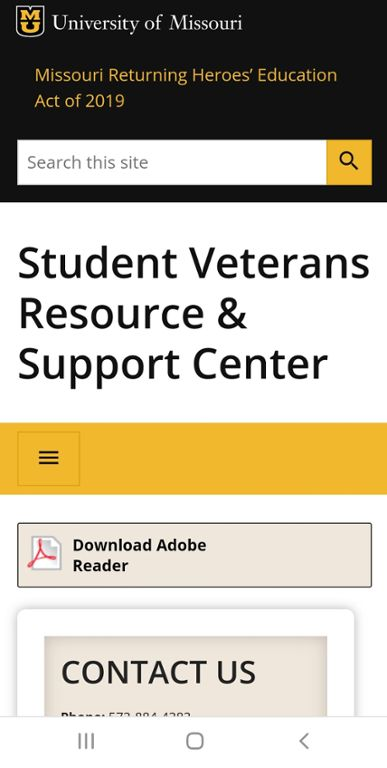 Mobile screen shot of Mizzou site for Chapter 33 Post 9/11 VA Benefits.