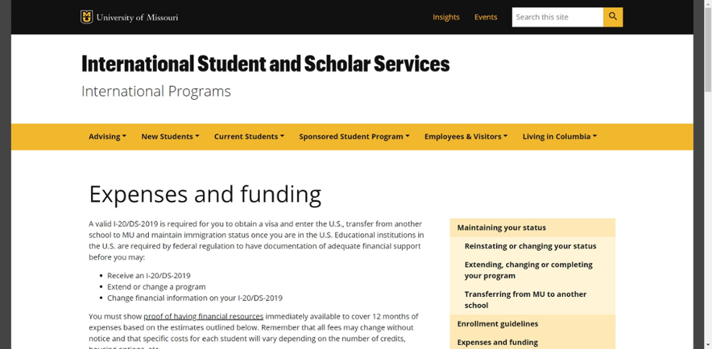Screenshot of Mizzou International Center's Expenses and Funding website.