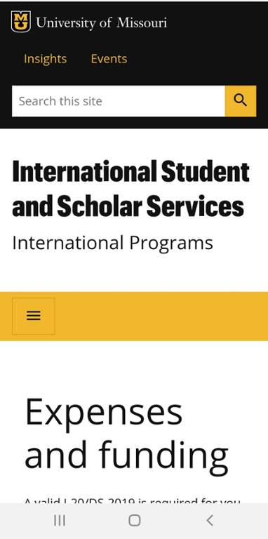 Mobile screen shot of Mizzou International Center's Financial Documentation Page.