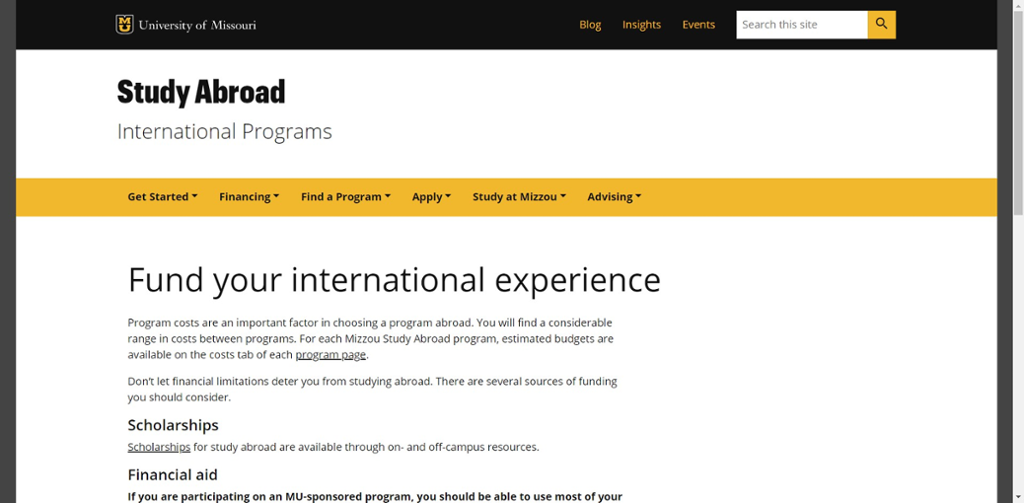 Screenshot of Mizzou Study Abroad's website for Financing a Study Abroad Program.