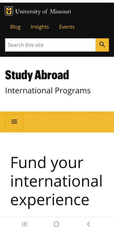Mobile screenshot of Mizzou's website for Financing a Study Abroad Program.