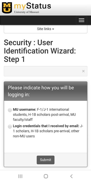 Mobile screen shot of Mizzou international center's website for letter of good standing request.