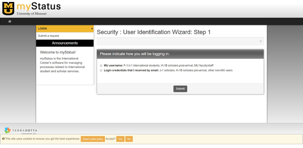 Screen shot of my status login page for Mizzou International Programs