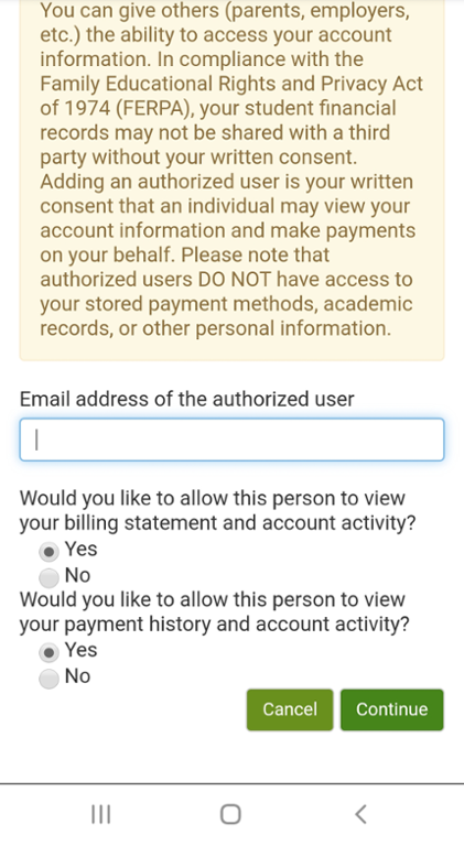 Screen shot of touch net mobile page to enter authorized user information