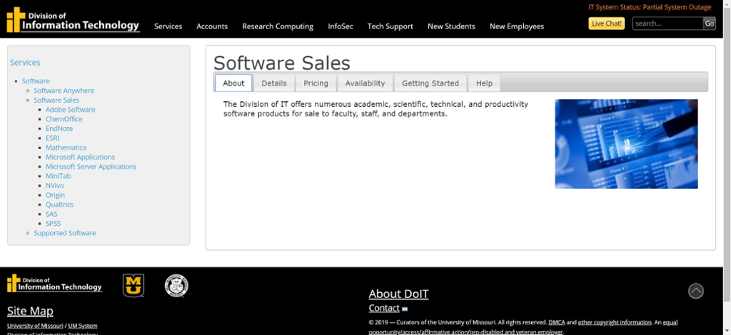 Screen shot of Mizzou Division of ITs website for Software Sales.
