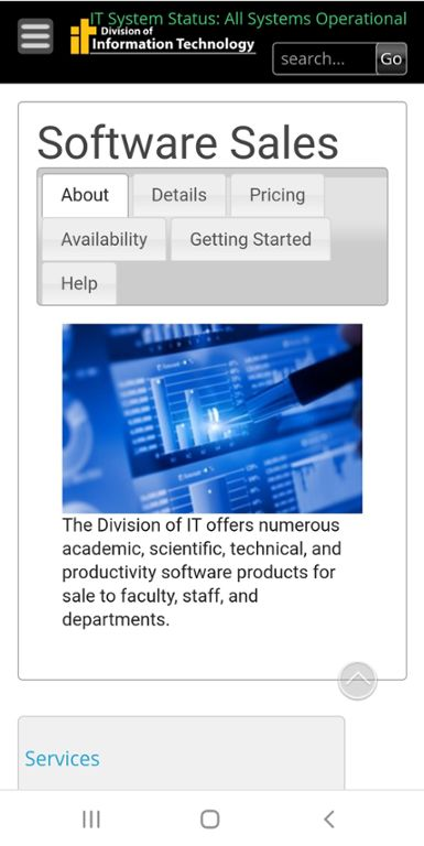 Mobile screen shot of Mizzou Division of IT website for Software Sales.