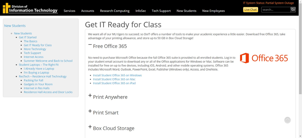 Screen shot of Mizzou Division of IT website for Office 365 installation information.