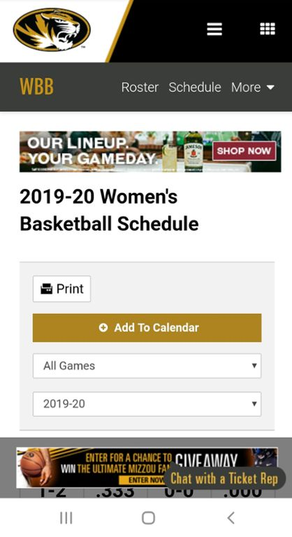 Screenshot of Mizzou women's basketball website.