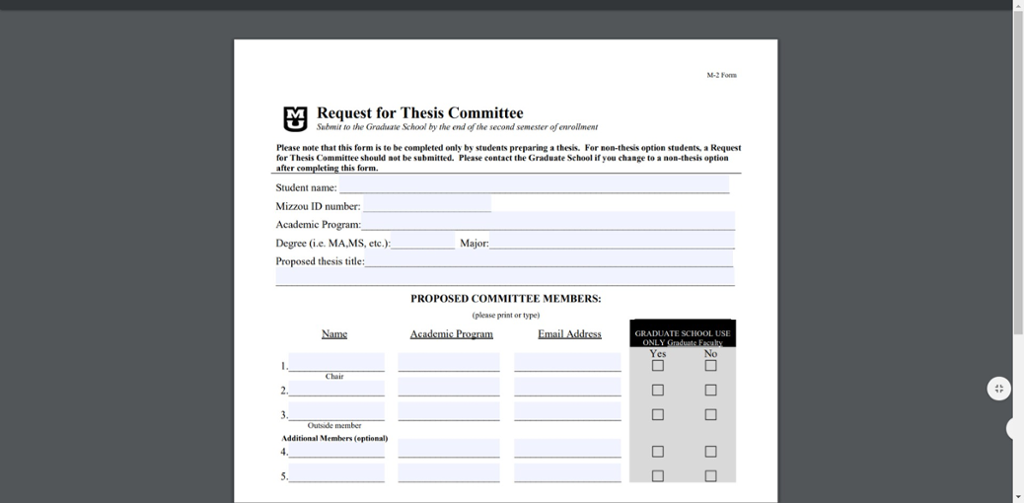 Screen shot of Mizzou's pdf request for thesis committee form.