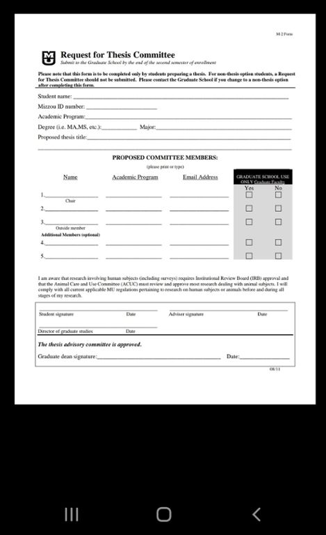 Mobile screen shot of Mizzou's PDF request for thesis committee form.