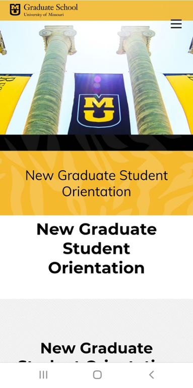 Mobile screen shot of Mizzou New Graduate Student Orientation website.