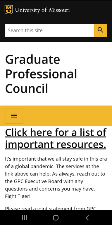 Mobile screen shot of Mizzou Graduate Professional Council website.