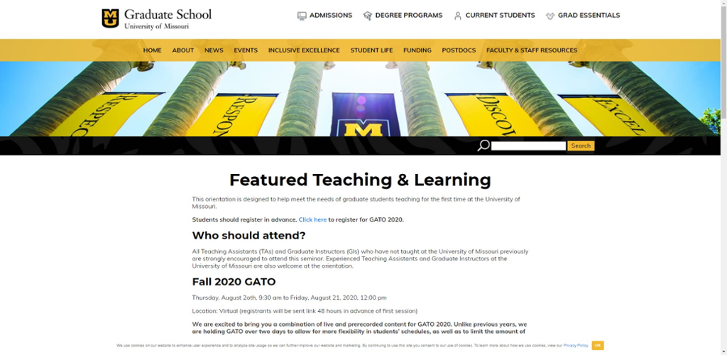 Screenshot of Graduate Assistant Teaching Orientation information website.