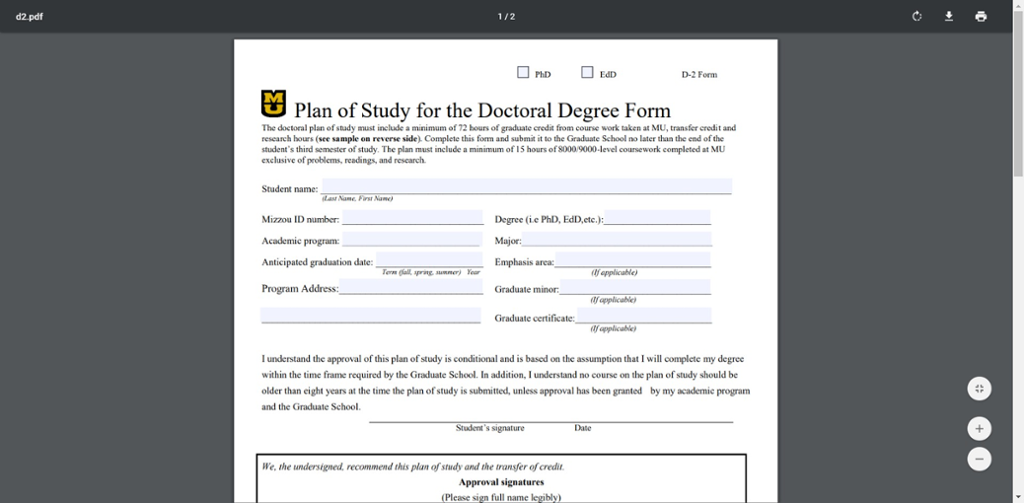 Screenshot of Mizzou grad School doctoral plan of study form.
