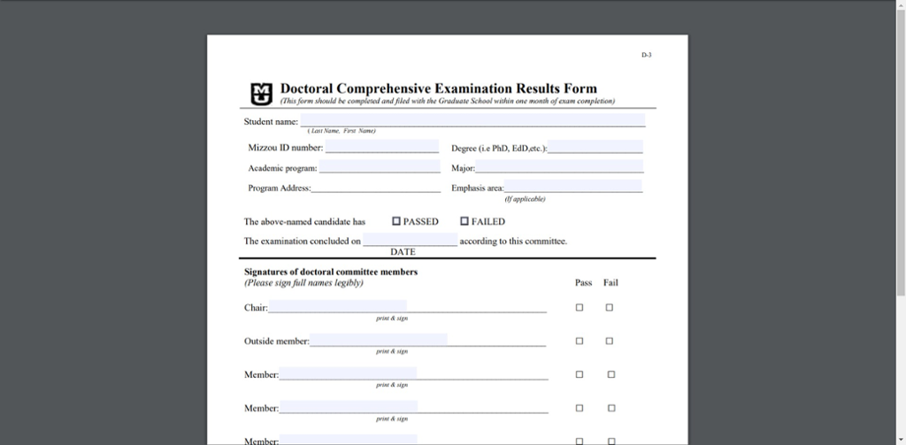screenshot of the Mizzou doctoral comprehensive examination results form PDF.