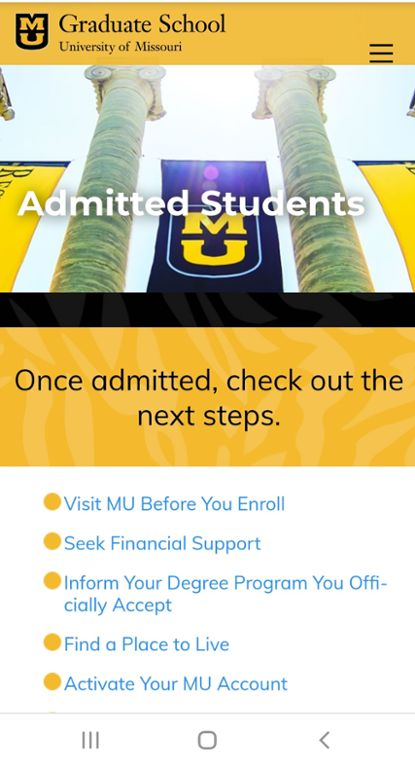 Screenshot of Mizzou mobile website for graduate admitted students next steps.