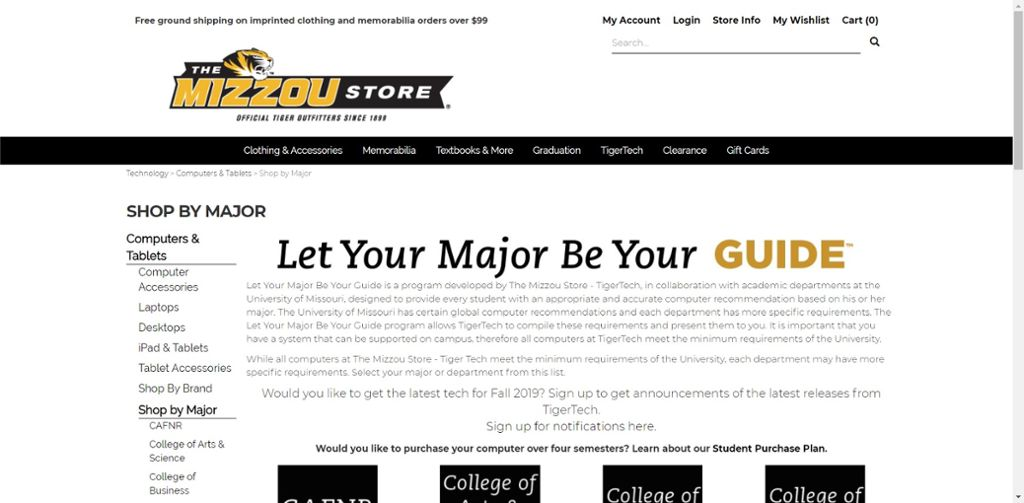 Screen shot of the Mizzou Stores let your major be your guide website