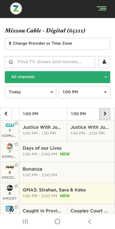 Mobile screenshot of Mizzou Cable TV Listing.