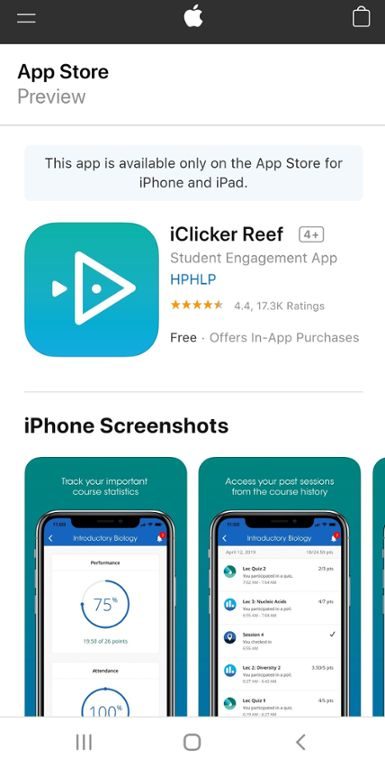 Mobile screen shot of i clicker reef app download in the app store.