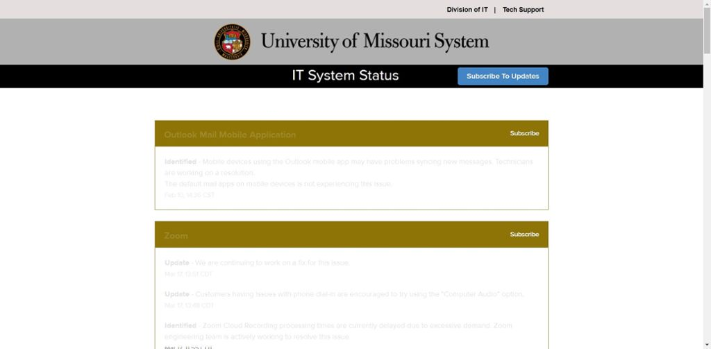 Screen shot of Mizzou IT system status website.