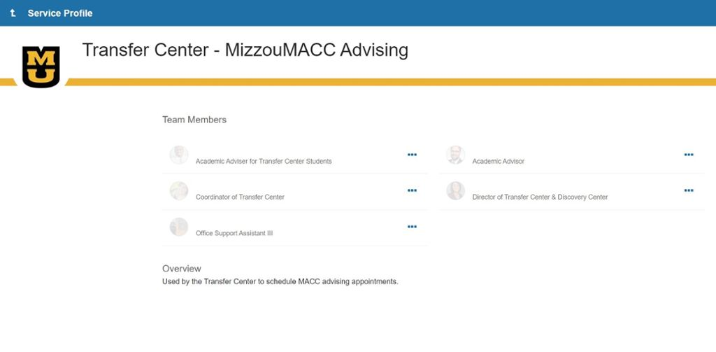 Screenshot of making a Mizzou MACC Advising appointment within MU Connect.