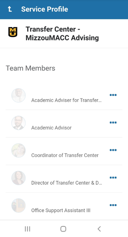 Mobile screenshot of making a Mizzou MACC Advising appointment within MU Connect.