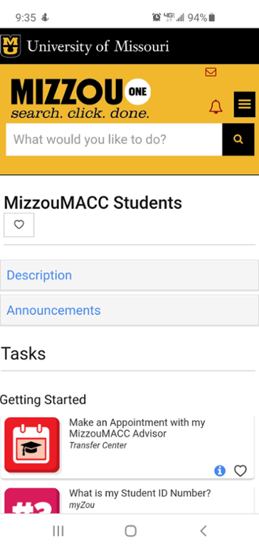 Mobile screen shot of Mizzou MACC task center page.