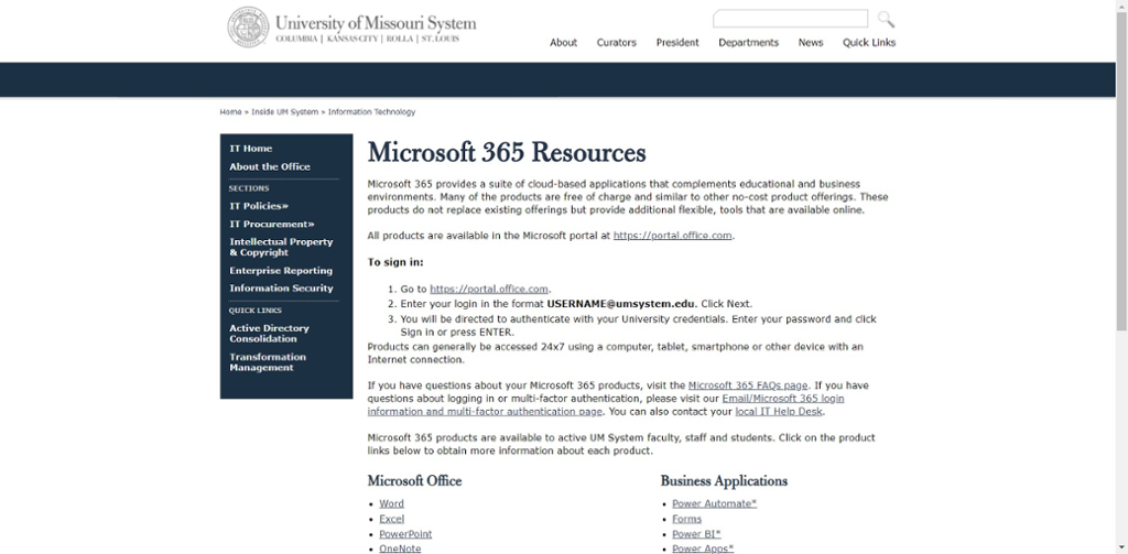Screen shot of Mizzou Microsoft 365 Resources information page.