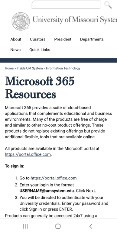 Mobile screen shot of Mizzou Microsoft 365 Resources information page.
