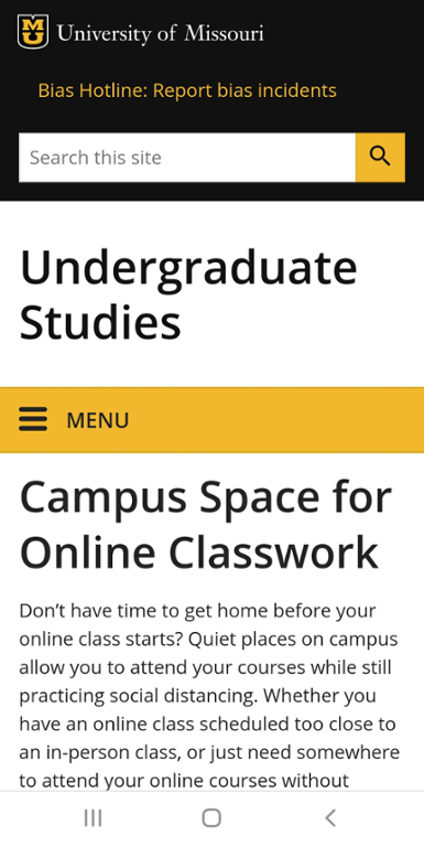 Mobile screen shot of Mizzou campus spaces for online classes website.