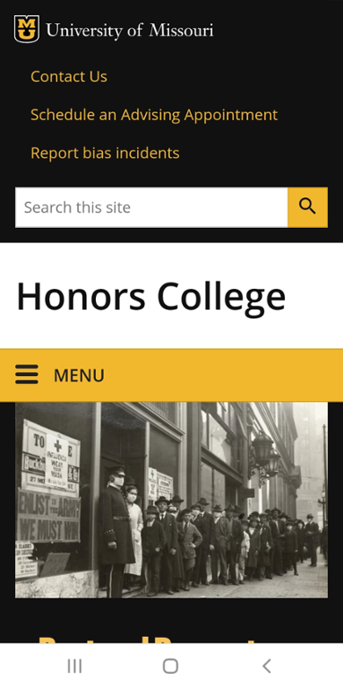Mobile screen shot of Mizzou Honors College website.