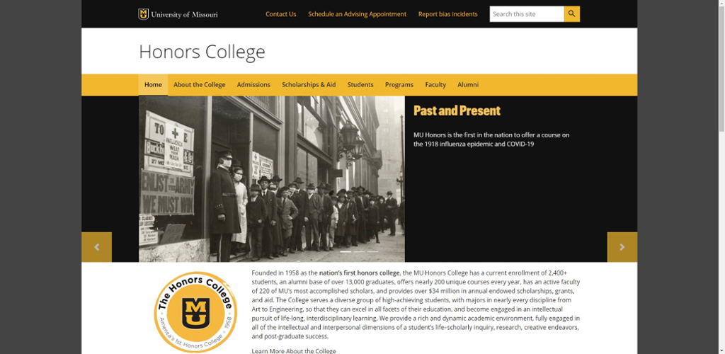 Screen shot of Mizzou Honors College website.