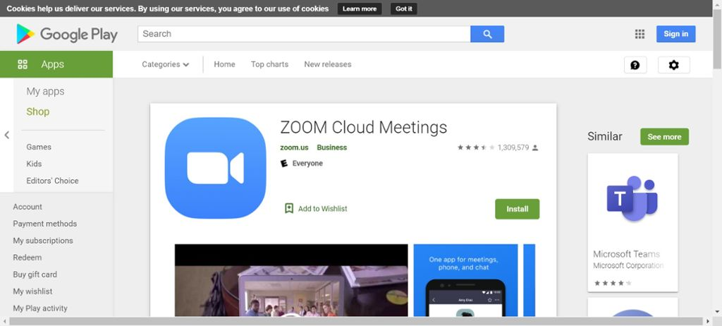 Screen shot of Zoom download on google play.