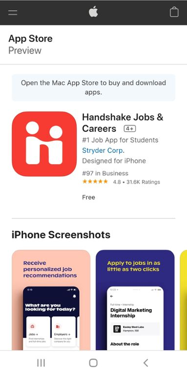 Mobile screenshot of Handshake download from the App Store for Mizzou students.
